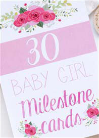Queen Bee Baby Girl Milestone Cards in Floral Design by Blossom & Pear