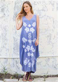 Queen Bee Story Of Seeker Maternity Maxi Dress in Blue Floral by Fillyboo