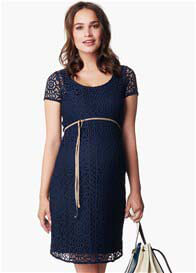 Queen Bee Elise Lace Maternity Dress in Dark Blue by Noppies