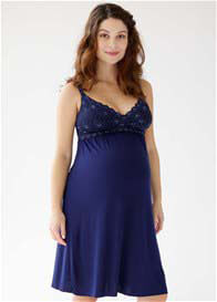 Queen Bee Tallulah Maternity Nursing Chemise in Navy Blue by Belabumbum