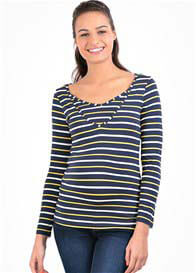 Queen Bee Milkizzy Zoe Nursing Top in Navy/Yellow Stripe by Pomkin