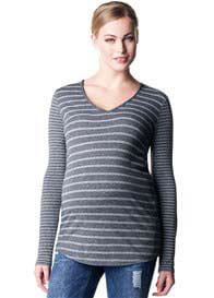 Queen Bee Britt Grey Mix Stripe Maternity Top by Noppies