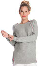 Queen Bee Contrast Double Zip Nursing Jumper in Grey by Seraphine
