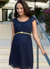 Queen Bee Pretty Lace Maternity Dress in Navy Blue by Seraphine
