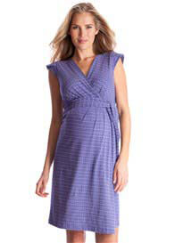 Queen Bee Purple Print Cap Sleeve Maternity Wrap Dress by Seraphine