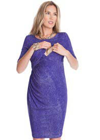 Queen Bee Sapphire Croc Print Maternity Nursing Dress by Seraphine