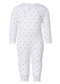 Queen Bee Lou Baby Playsuit in White Star Print by Noppies Baby
