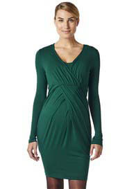 Queen Bee Pleated Maternity Nursing Dress in Green by Esprit