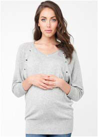 Queen Bee Lambswool Maternity Nursing Jumper in Grey by Ripe Maternity