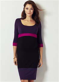 Queen Bee Purple/Black Colour Block Maternity Dress by Tiffany Rose