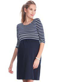 Queen Bee Simone Maternity Nursing Dress in Blue Stripes by Seraphine