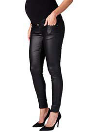 Queen Bee Coated Skinny Maternity Jeans in Black by Supermom