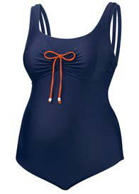 Queen Bee Juniper Maternity One Piece Swimsuit in Navy by Amoralia