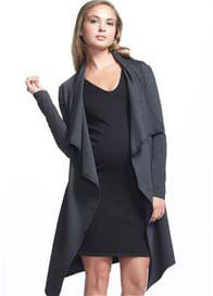 Queen Bee Aspen Long Maternity Cardigan in Charcoal by Soon Maternity