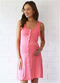 Queen Bee Button Maternity Nursing Nightie in Coral by Amoralia