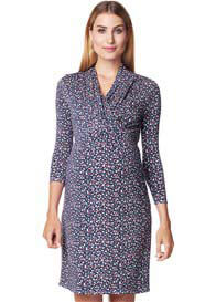 Queen Bee Navy Small Flower Print Maternity Nursing Dress by Esprit