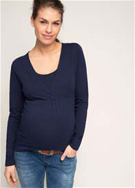 Queen Bee Long Sleeve Maternity Nursing Top in Navy by Esprit