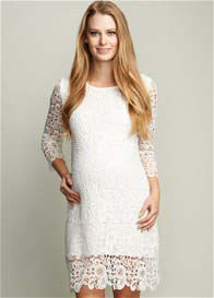 Queen Bee White Crochet Lace Maternity Dress by Maternal America