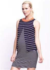 Queen Bee Layered Mix Stripe Maternity Nursing Dress by Maternal America