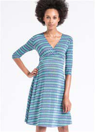 Queen Bee Lapis Lazuli Perfect Maternity Wrap Dress by Leota
