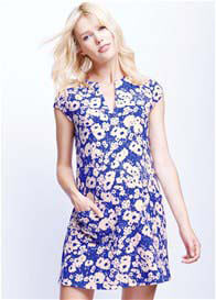 Queen Bee Blue Daisy Pocket Maternity Dress by Maternal America