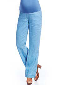 Queen Bee Blue Linen Maternity Trousers by Queen mum