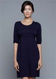 Queen Bee Esther Maternity Nursing Tab Dress in Navy by Dote Nursingwear