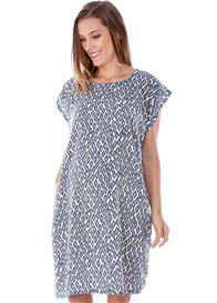 Queen Bee Bailey Maternity Shift Dress in Blue Print by Imanimo
