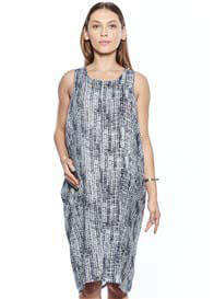 Queen Bee Caroline Drape Maternity Dress in Grey Print by Imanimo