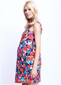Queen Bee Triangle Keyhole Maternity Dress in Floral Garden by Maternal America