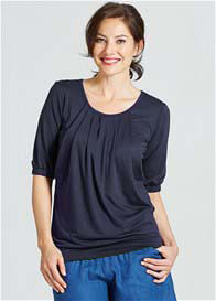 Queen Bee Operetta Maternity & Nursing Top in Navy by Milky Way