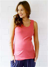 Queen Bee Vincent Nursing Tank Top in Coral by Trimester Clothing