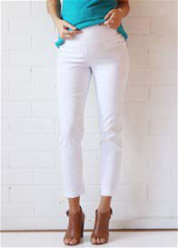 Queen Bee Paris White Maternity Capri Pants by Floressa