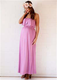 Queen Bee Nelson Strapless Nursing Maxi Dress in Persian Rose by Trimester