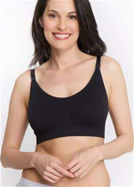 Queen Bee Loni Seamless Maternity Nursing Bra in Black by Q-T Intimates
