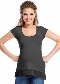 Queen Bee Chiffon Edge Maternity Tee in Dark Grey by Queen mum