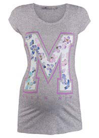 Queen Bee M Floral Stencil Maternity T-Shirt in Grey by Queen mum
