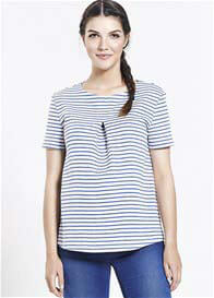 Queen Bee Striped Blue/White Maternity Blouse by Paula Janz