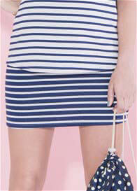 Queen Bee Blueberry Striped Maternity Skirt by Paula Janz