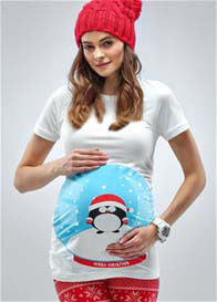 Queen Bee LIttle Snow Globe Christmas Maternity Tee by Mamagama