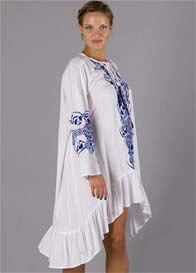 Queen Bee Papinelle Embroidered Maternity Dress in White/Blue by Fillyboo