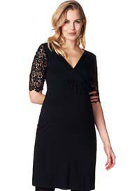 Queen Bee Lace Sleeve Maternity Dress in Black by Esprit