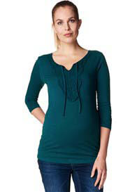 Queen Bee 3/4 Sleeve Crochet Maternity Top in Twilight Green by Esprit