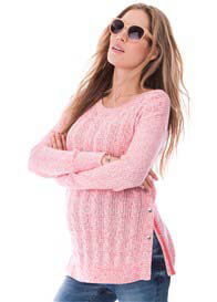 Queen Bee Cotton Cable Knit Nursing Jumper in Pink/White by Seraphine