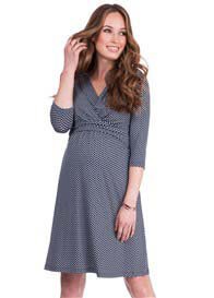 Queen Bee Pia Maternity Nursing Dress in Navy Print by Seraphine