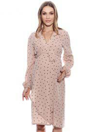 Queen Bee Rita Maternity Wrap Dress in Rose Print by Imanimo