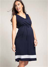 Queen Bee Camellia Maternity Nursing Dress in Navy by Esprit