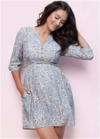 Queen Bee India Boho Maternity Dress in Blue Floral by Seraphine