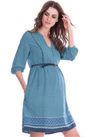Queen Bee India Boho Maternity Dress in Blue Tile Print by Seraphine