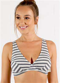 QueenBee® - Amy Nursing Bra in Charcoal Stripe